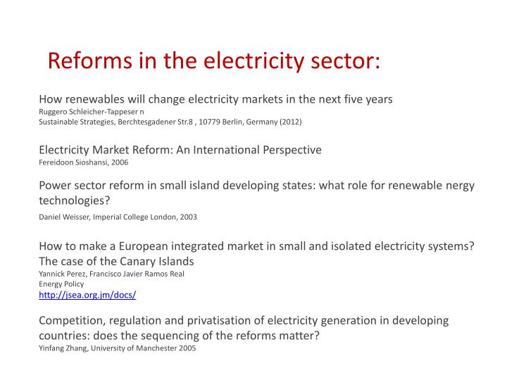 Reforms in the electricity sector:
