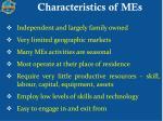 characteristics of mes