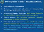 development of mes recommendations