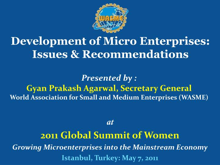 development of micro enterprises issues recommendations n.