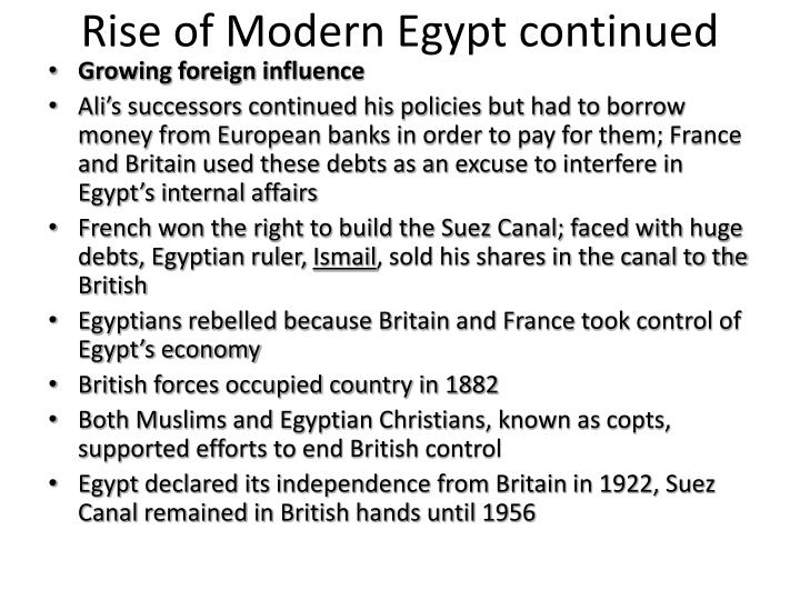 Rise of Modern Egypt continued