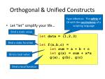 orthogonal unified constructs