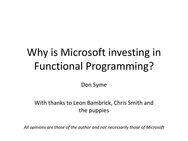 why is microsoft investing in functional programming n.