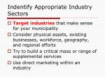 indentify appropriate industry sectors