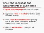 know the language and requirements of businesses