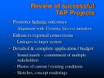 review of successful tap projects