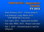 tentative application timeline fy 2015