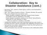collaboration key to disaster assistance cont1
