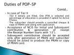 duties of pop sp contd
