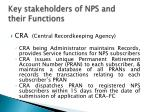 key stakeholders of nps and their functions