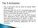 tier ii activation
