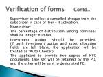 verification of forms contd