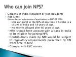 who can join nps