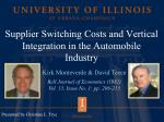 supplier switching costs and vertical integration in the automobile industry