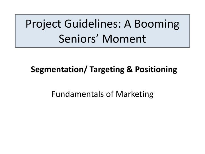 project guidelines a booming seniors moment n.