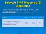 selected ship measures 3 disparities