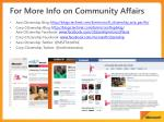 for more info on community affairs