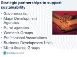 strategic partnerships to support sustainability