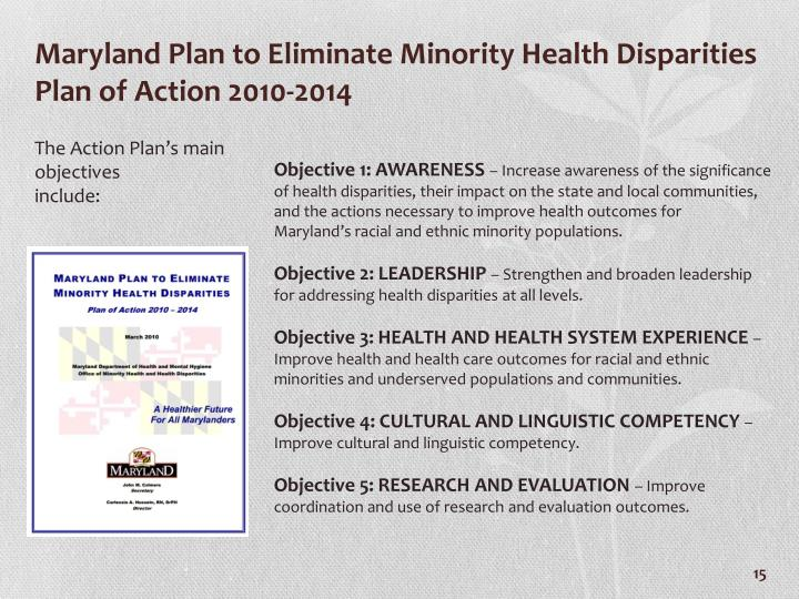 Maryland Plan to Eliminate Minority Health Disparities Plan of Action 2010-2014