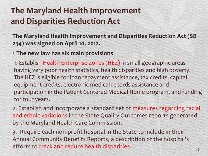 The Maryland Health Improvement