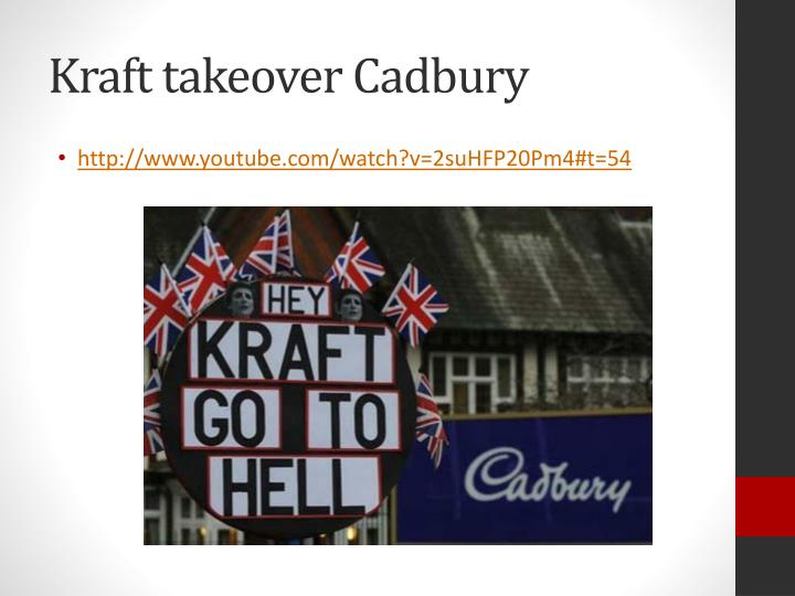kraft and cadbury takeover management essay Cadburys, a british global producer of confectionary was bought out by the american kraft in january 2010 prior to the merger cadburys was listed on the london stock.