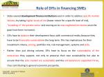role of dfis in financing smes
