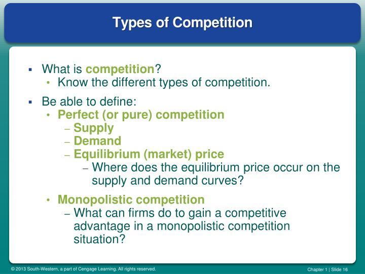 types of competition The intensity of that competition, whether direct or indirect, will affect the overall potential for success of your business that is why it's important to consider all types of competition when planning your business, to ensure that you have the edge over others in your industry.