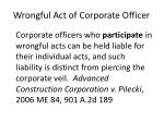 wrongful act of corporate officer