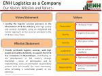 enh logistics as a company our vision mission and values