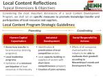 local content reflections typical dimensions objectives