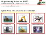 opportunity areas for sme s infra structures construction detail