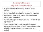boundary changes negative considerations