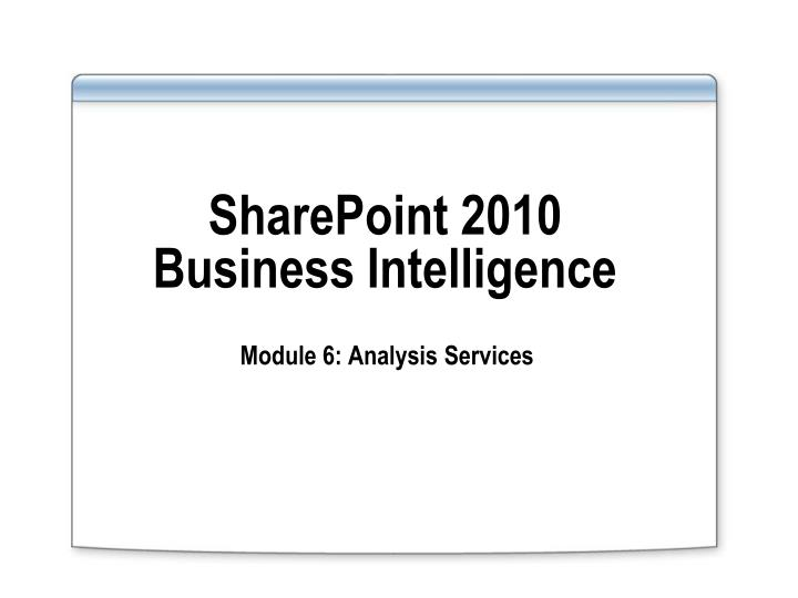 sharepoint 2010 business intelligence n.