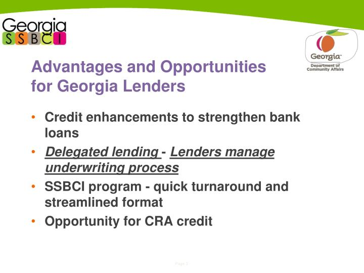 Advantages and opportunities for georgia lenders