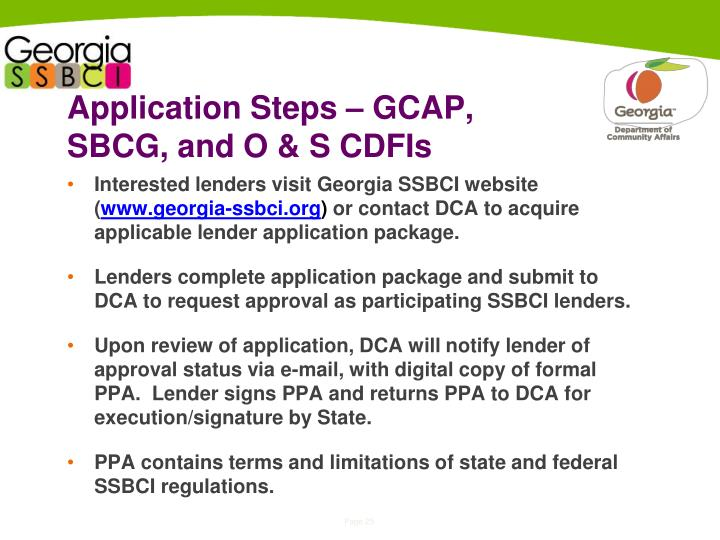 Application Steps – GCAP, SBCG, and O & S CDFIs