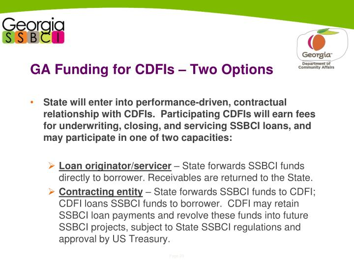 GA Funding for CDFIs – Two Options