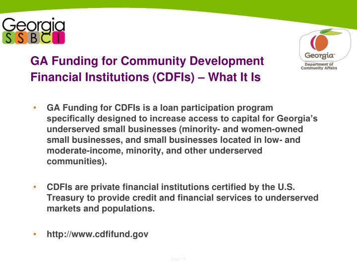 GA Funding for Community Development Financial Institutions (CDFIs) – What It Is