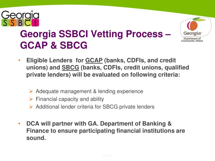 Georgia SSBCI Vetting Process – GCAP & SBCG
