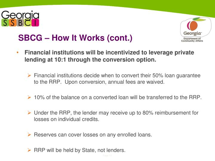 SBCG – How It Works (cont.)