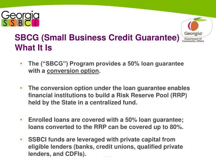 SBCG (Small Business Credit Guarantee)