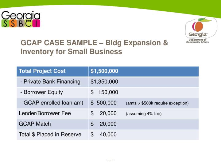 GCAP CASE SAMPLE – Bldg Expansion & Inventory for Small Business