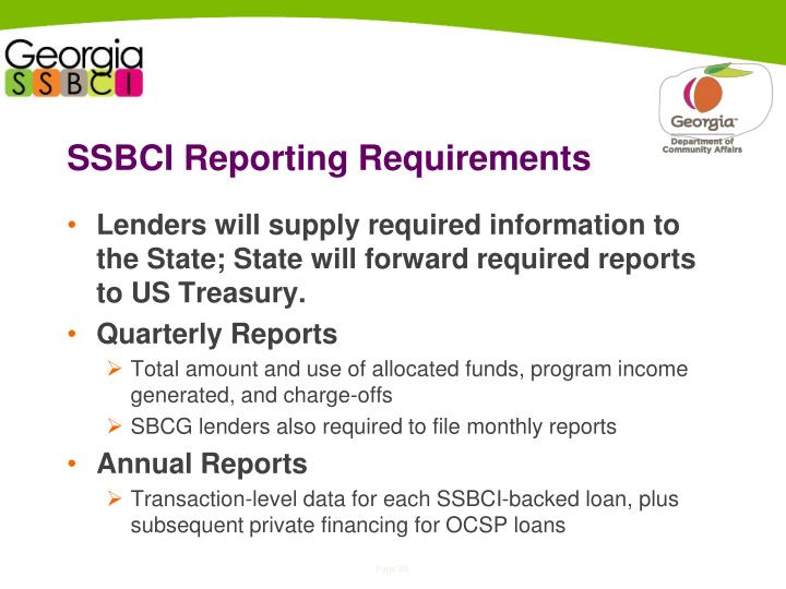 SSBCI Reporting Requirements