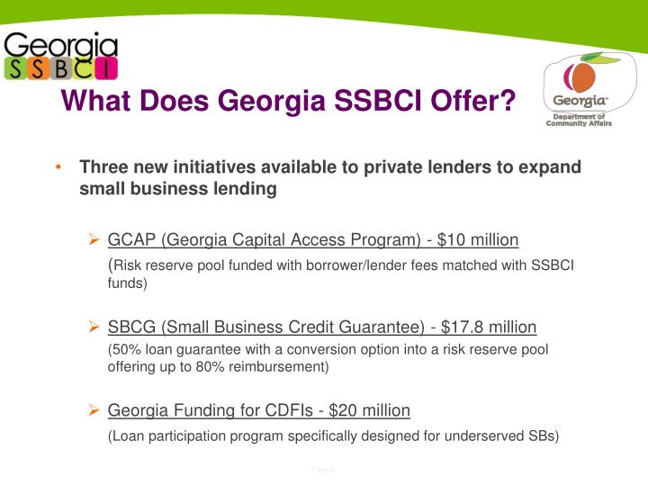 What Does Georgia SSBCI Offer?