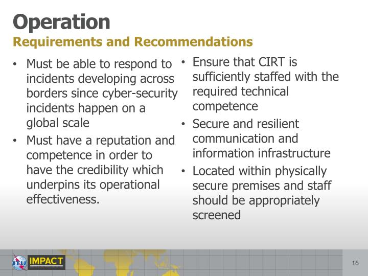 Requirements and Recommendations