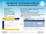 get registered dun bradstreet dnb and the system for award management sam