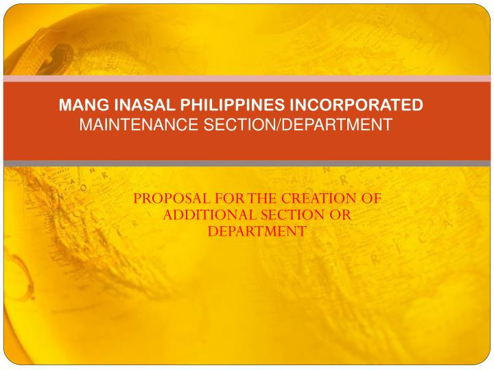 mang inasal philippines incorporated maintenance section department n.