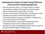 evaluating the impacts of state energy efficiency an econometric modeling approach