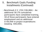 x benchmark goals funding installments continued