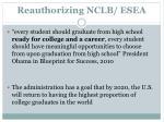 reauthorizing nclb esea