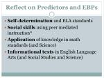 reflect on predictors and ebps